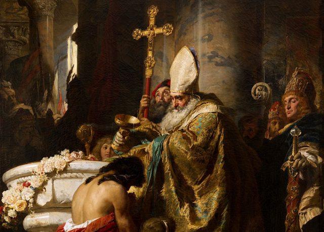 Benczúr Gyula: Vajk megkeresztelkedése
